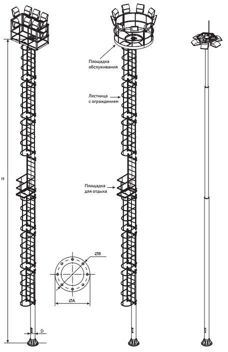 Высокомачтовые трубчатые опоры со стационарной короной ВМОНТ